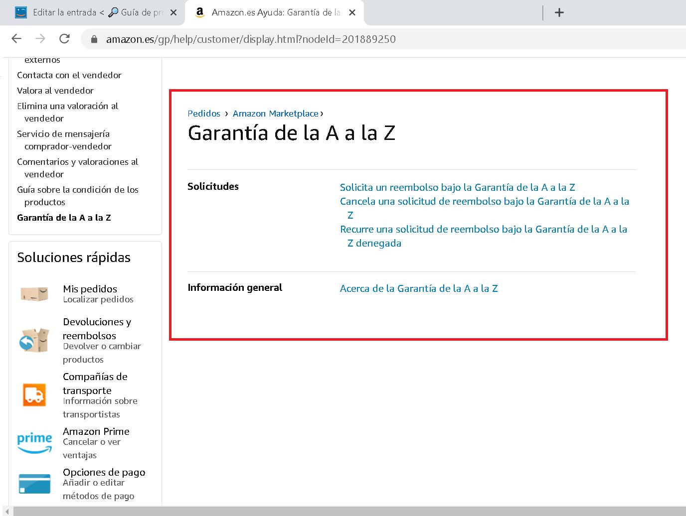 Garantía de la A a la Z de Amazon